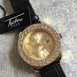 TECHNO PAVE Watch Goldtone CZ NWT
